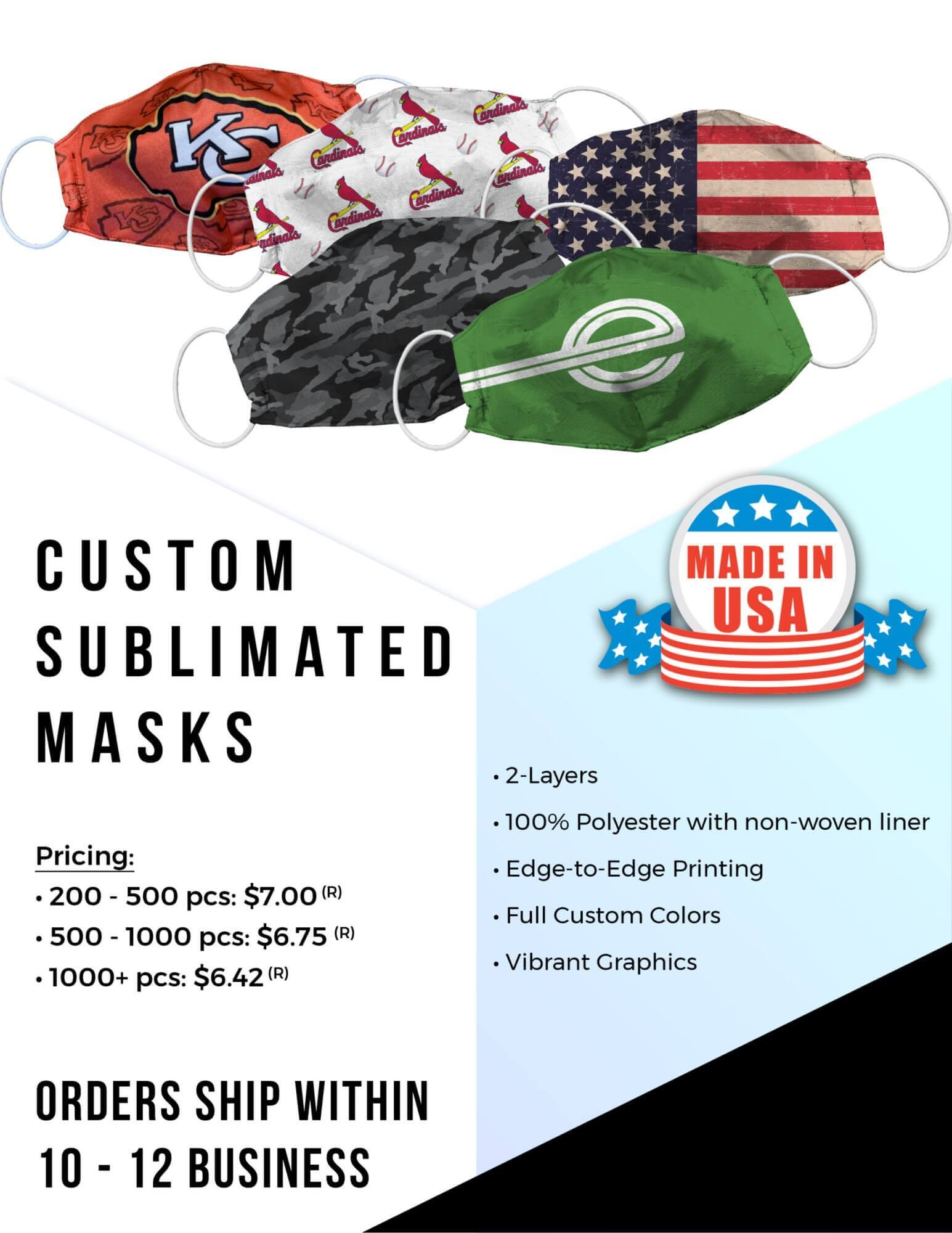 Sublimated Face Masks